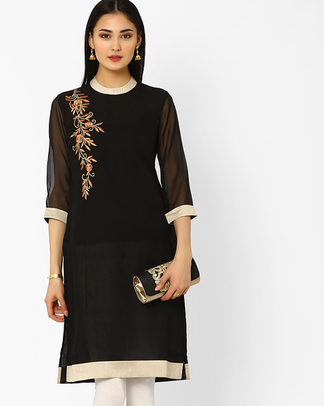 Embroidered Kurta With Contrast Taping By AJIO ( Black )