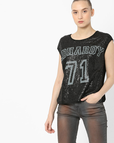 Sequinned T-shirt With Drop Shoulders By ED HARDY ( Black )