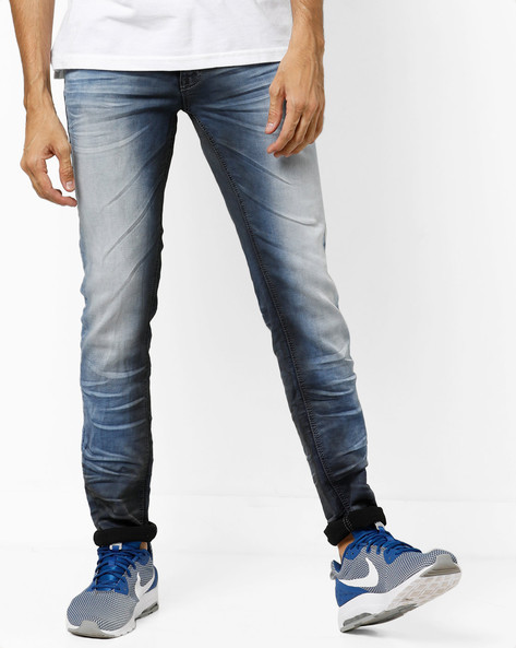 Heavy-Wash Slim Fit Jeans With Whiskers By RexStraut JEANS ( Blue )