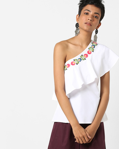 One-Shoulder Top With Ruffle Panel By AJIO ( White )