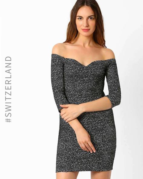 Off-Shoulder Bodycon Dress By TALLY WEiJL ( Black ) - 460019677003