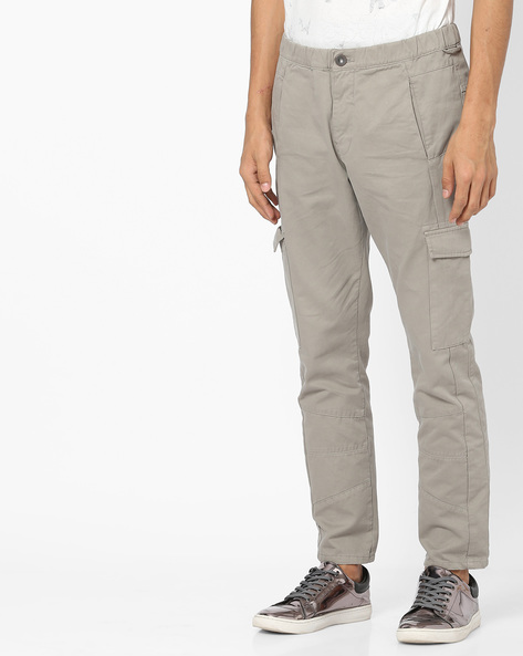 Mid-Rise Jeans With Cargo Pockets By Blue Saint ( Gray )