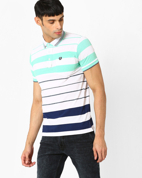 Striped Polo T-shirt By DUKE ( White ) - 440731890004