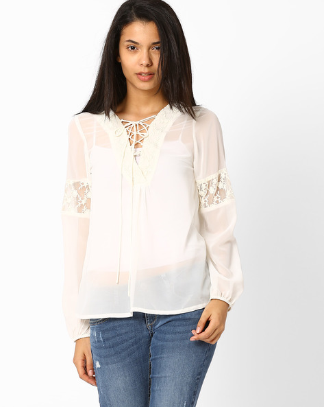 Peasant Top With Lace By RIDRESS ( Offwhite )