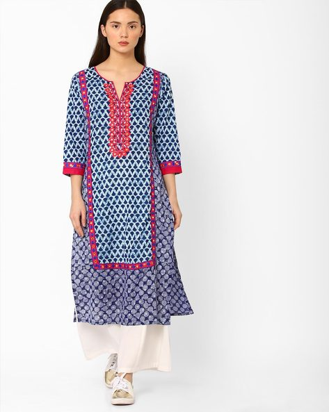 Printed Straight Kurta With Embroidery By Kifahari ( Blue ) - 460044918002