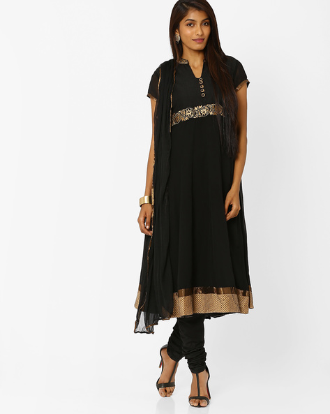 Embroidered Anarkali Churidar Kurta With Dupatta By AJIO ( Black ) - 460001822005