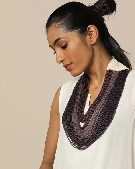 Multi Strand Glass Bead Layered Necklace By IMLI STREET ( Multi ) - 460158027001