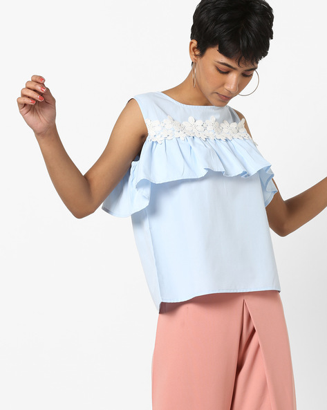 Sleeveless Top With Floral Lace Trim By AJIO ( Blue )