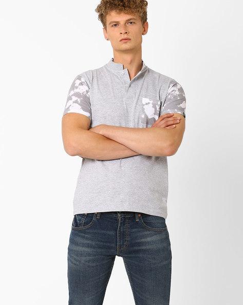 Cotton T-shirt With Mandarin Collar By Garcon ( Greymelange )