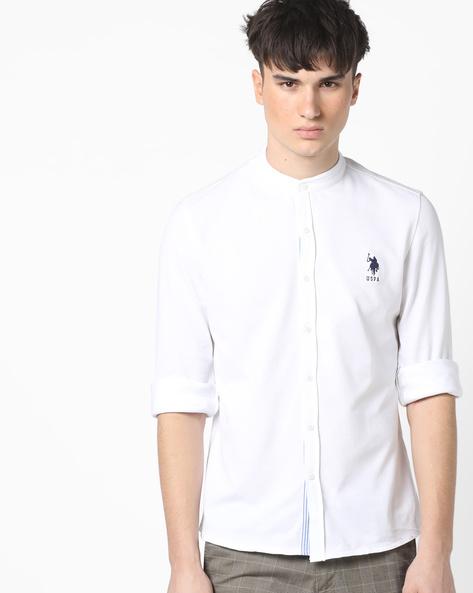 Mandarin Collar Cotton Shirt By US POLO ( Assorted )