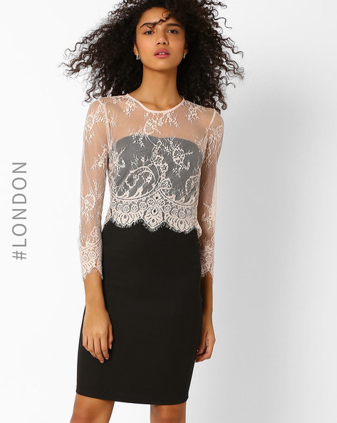 Lace Popover Dress By Zibi London ( Black )