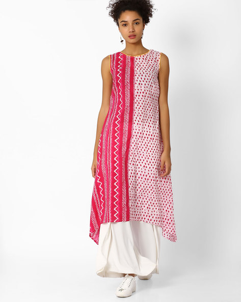 Printed Kurta With Contrast Piping By AJIO ( Fuchsia )