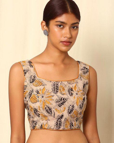Kalamkari Handblock Print Cotton Sleeveless Blouse By Indie Picks ( Multi ) - 460053471004