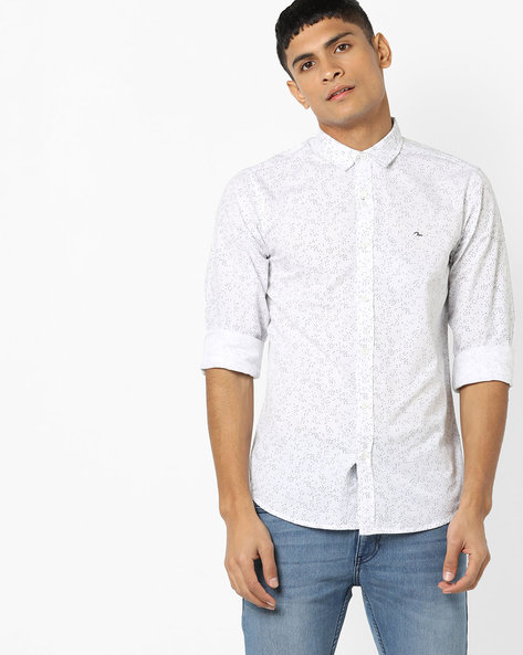 All-Over Print Shirt With Spread Collar By SPYKAR ( White )