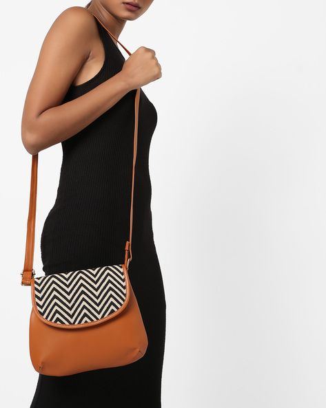 Sling Bag With Chevron Flap By Kanvas Katha ( Multicolor )