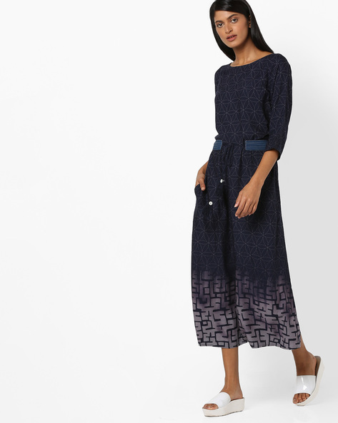 All-Over Print A-line Dress With Tie-Up By Aujjessa ( Blue )