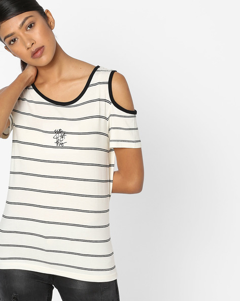 Striped Cold-Shoulder Top By Teamspirit ( Offwhite )