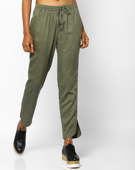 Ankle-Length Pants With Slit Hems By PE WW Casual ( Olive )