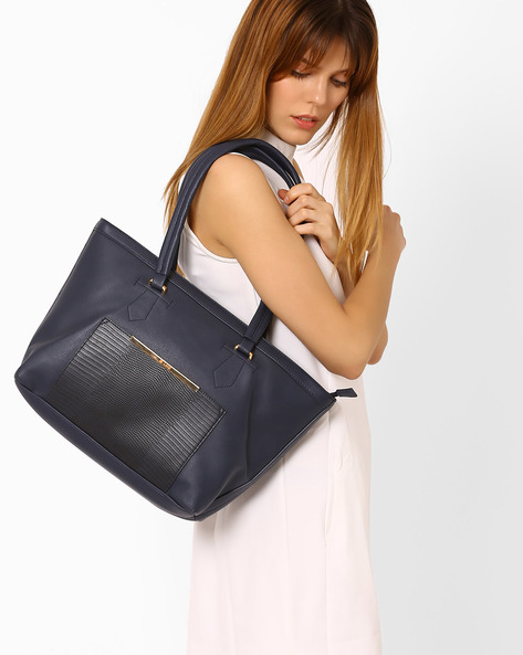 Tote Bag With Textured Detail By Lavie ( Navy )