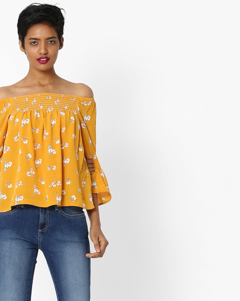 Off-Shoulder Top With Bell Sleeves By Only ( Mustard )