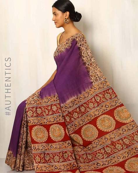 Hand Block Print Kalamkari Cotton Silk Saree By Indie Picks ( Purple )