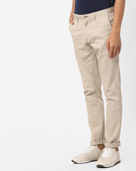 Tapered Fit Stretch Trousers By BASICS ( Beige )