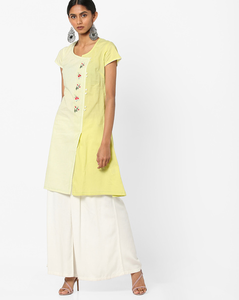Panelled Straight Kurta With Floral Embroidery By AJIO ( Lime )