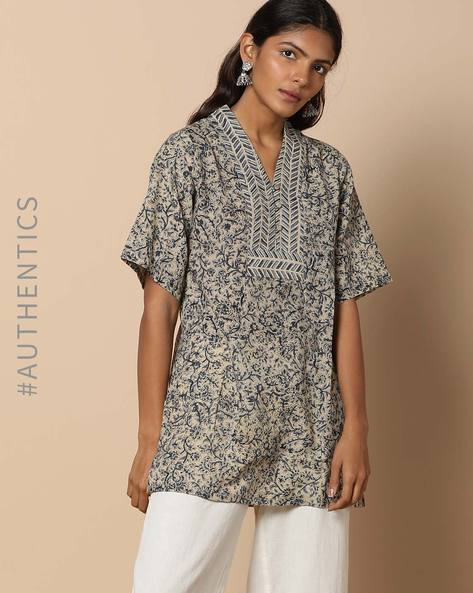 Hand Block Print Kalamkari Cotton Tunic With Kimono Neck By Indie Picks ( Beige )