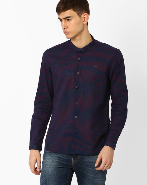 Striped Slim Fit Shirt By VOI JEANS ( Navy )