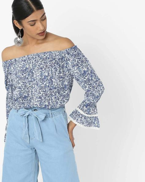 Printed Off-Shoulder Top With Bell Sleeves By DNMX ( Offwhite )