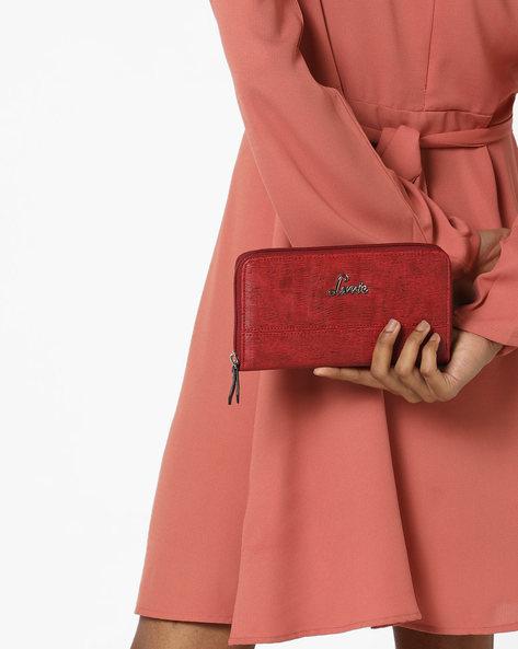 Papel Textured Zip-Around Wallet By Lavie ( Red )