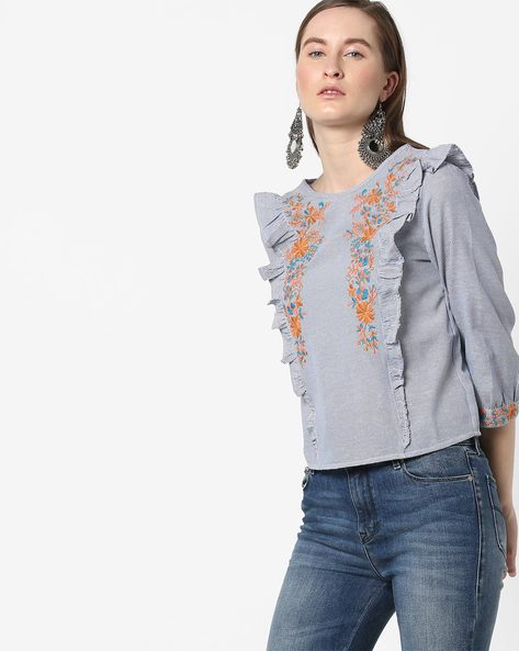 Pin-Striped Top With Floral Embroidery By Rena Love ( Blue )