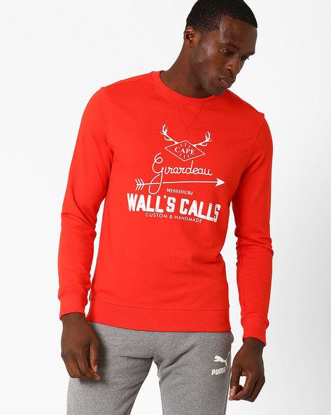 Lightweight Graphic Print Regular Fit Sweatshirt By AJIO ( Rust )
