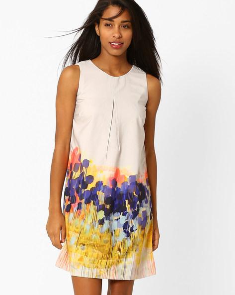 Printed Sleeveless Shift Dress By Recap ( Beige )