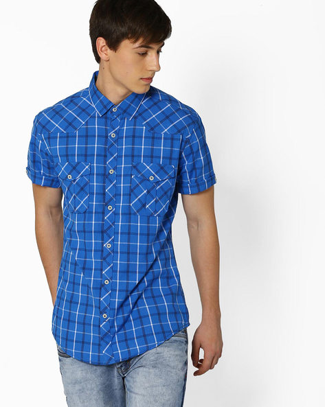 Checked Slim Fit Casual Shirt By DNM X ( Blue )