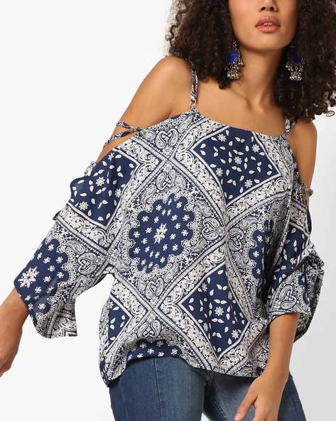 Strappy Cold-Shoulder Top By AJIO ( Blue )