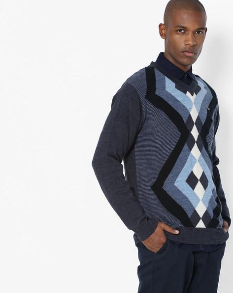 Geometric Pattern V-neck Pullover By DUKE ( Darkblue )