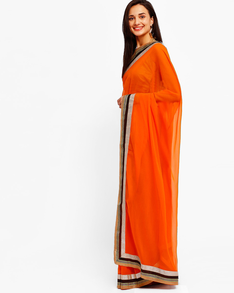 Chiffon Saree With Zari Border By Majestic Silk ( Orange )