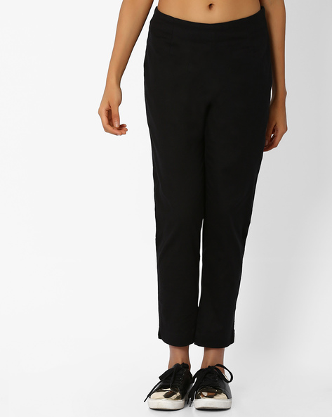 Cotton Trousers With Elasticated Waist By AURELIA ( Black )