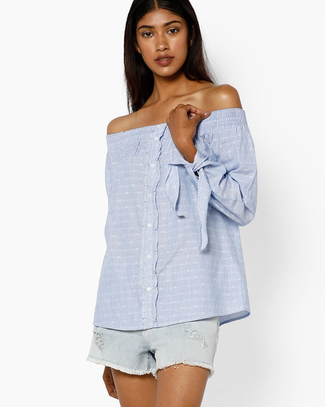 Off-Shoulder Top With Ruffles By AJIO ( Blue )