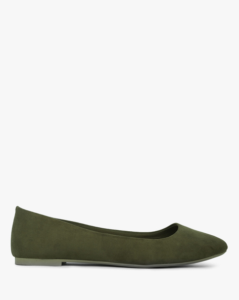 Pointy-Toed Low-Top Ballerinas By CHRISTIAN SIRIANO ( Olive )