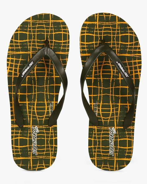 Mesh Print Thong-Style Flip-Flops By Sole Threads ( Olive )