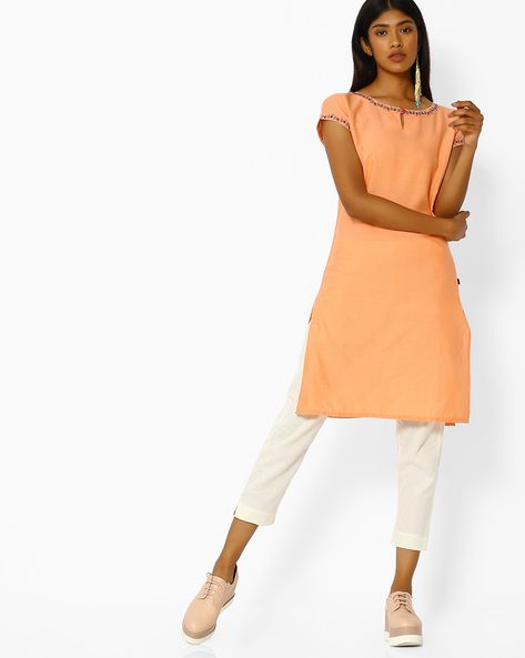 Straight Kurta With Embroidered Hems By Juniper ( Peach )
