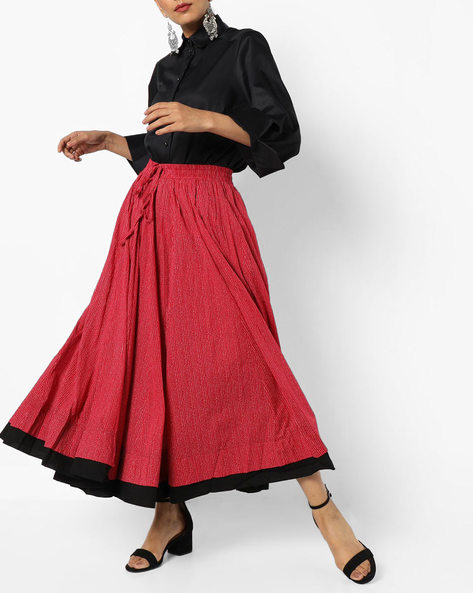 Dot Print Flared Maxi Skirt By Project Eve IW Casual ( Maroon )