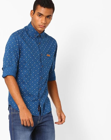 Printed Regular-fit Shirt By US POLO ( Blue )