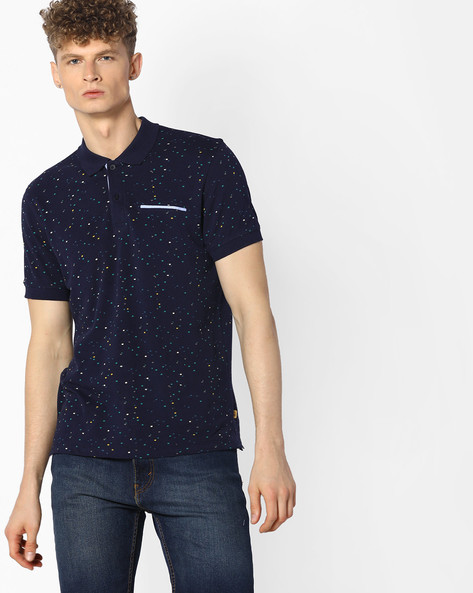 All-Over Print Polo T-shirt By UNITED COLORS OF BENETTON ( Blue )