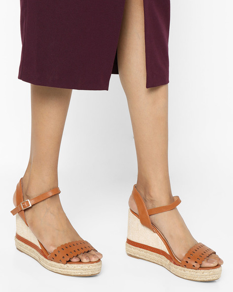 Slingback Wedges With Cutout Upper By AJIO ( Tan )
