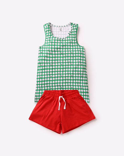 Printed Tank Top With Shorts By Under Colors Of Benetton ( Multi )