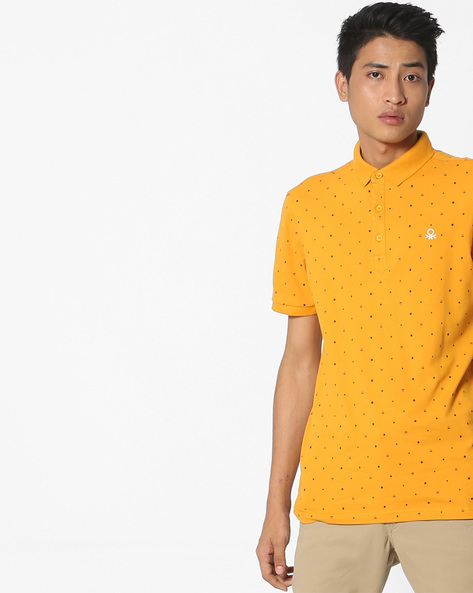 Polka-Dot Print Polo T-Shirt By UNITED COLORS OF BENETTON ( Yellow )