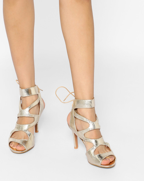 Tie-Up Stilettos With Cut-Outs By AJIO ( Gold )